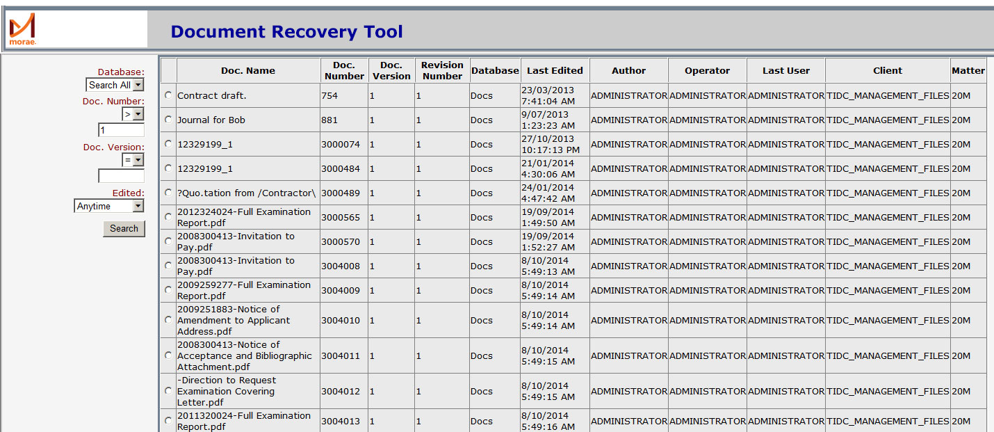 Document Recovery Tool for iManage